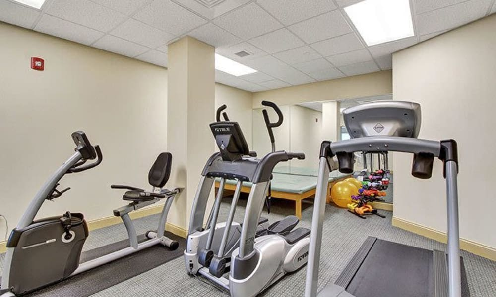 Fitness center at Keystone Villa at Ephrata in Ephrata, Pennsylvania