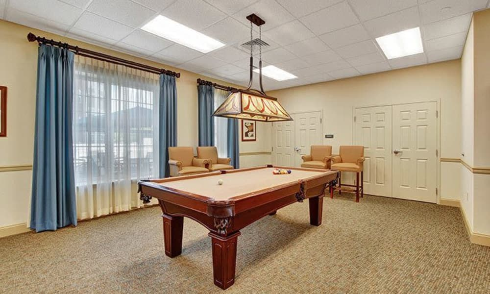 Billiards table at Keystone Villa at Ephrata in Ephrata, Pennsylvania
