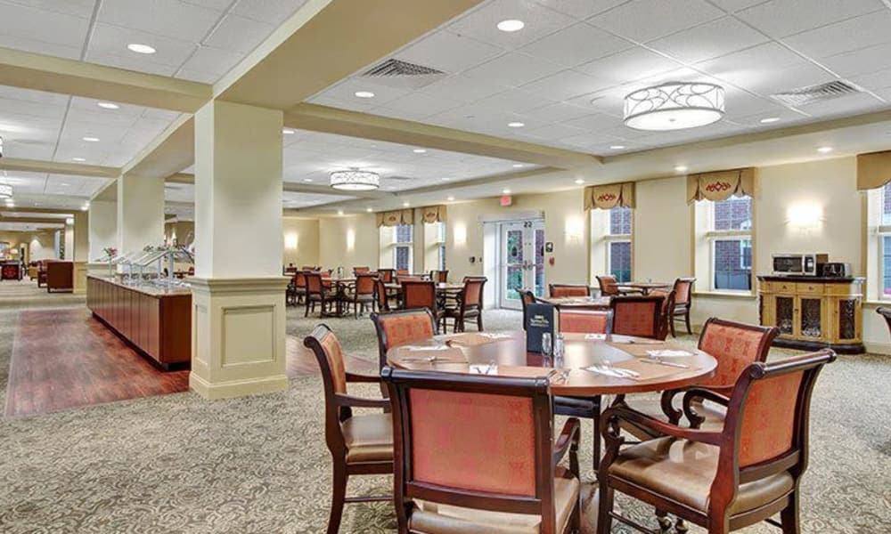 Independent living dining room at Keystone Villa at Ephrata in Ephrata, Pennsylvania