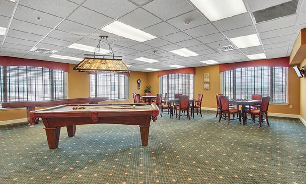 Billiards and cards room at Keystone Villa at Fleetwood in Blandon, Pennsylvania