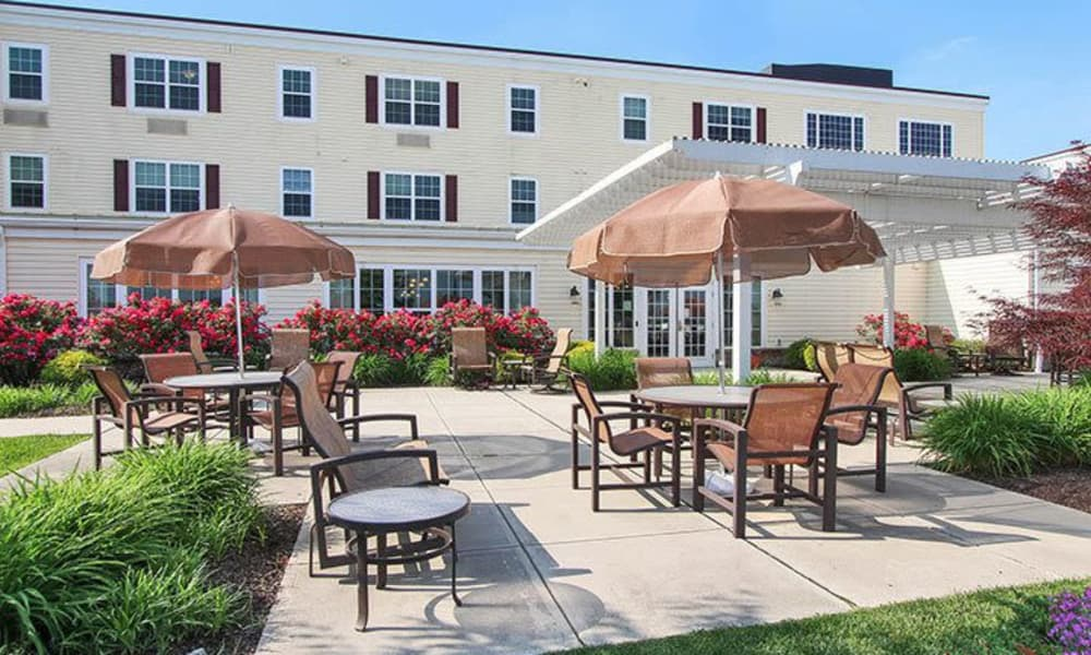 Beautiful landscaped patio at Keystone Villa at Fleetwood in Blandon, Pennsylvania