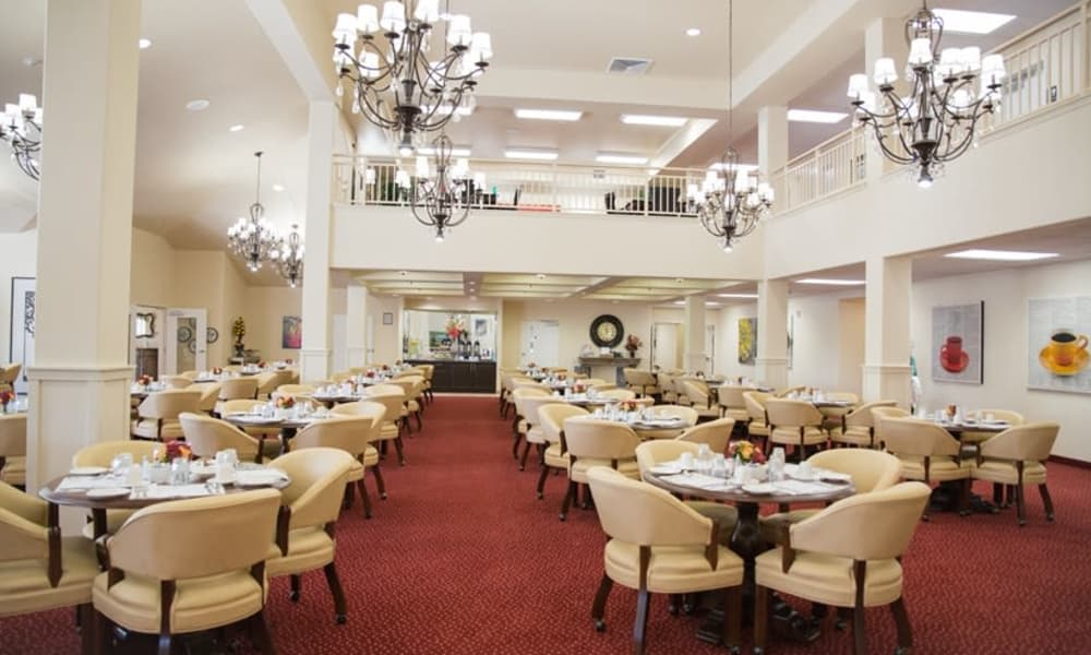The dining hall for residents at The Oaks Gracious Retirement Living in Georgetown, Texas