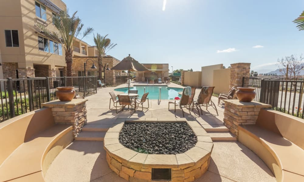 The outdoor community pool at The Palms at LaQuinta Gracious Retirement Living in La Quinta, California