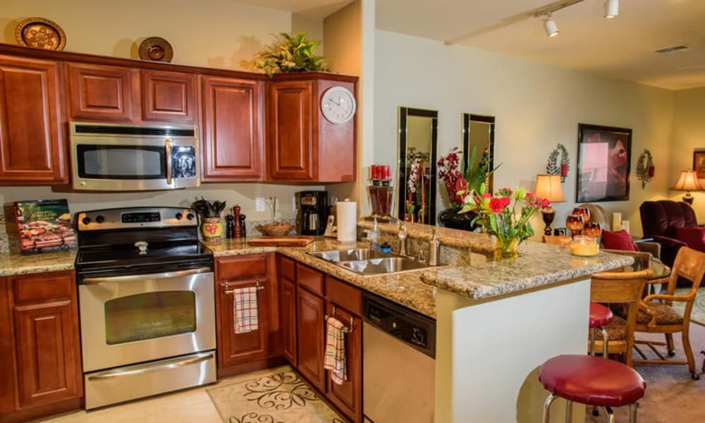 A decorated apartment kitchen at The Peaks at Santa Rita in Green Valley, Arizona