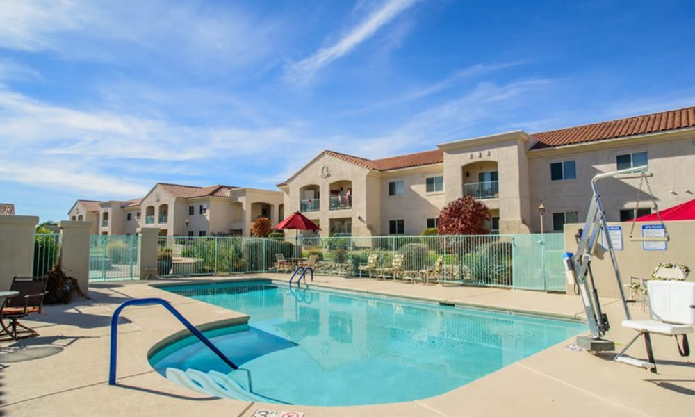 The outdoor community pool or residents at The Peaks at Santa Rita in Green Valley, Arizona