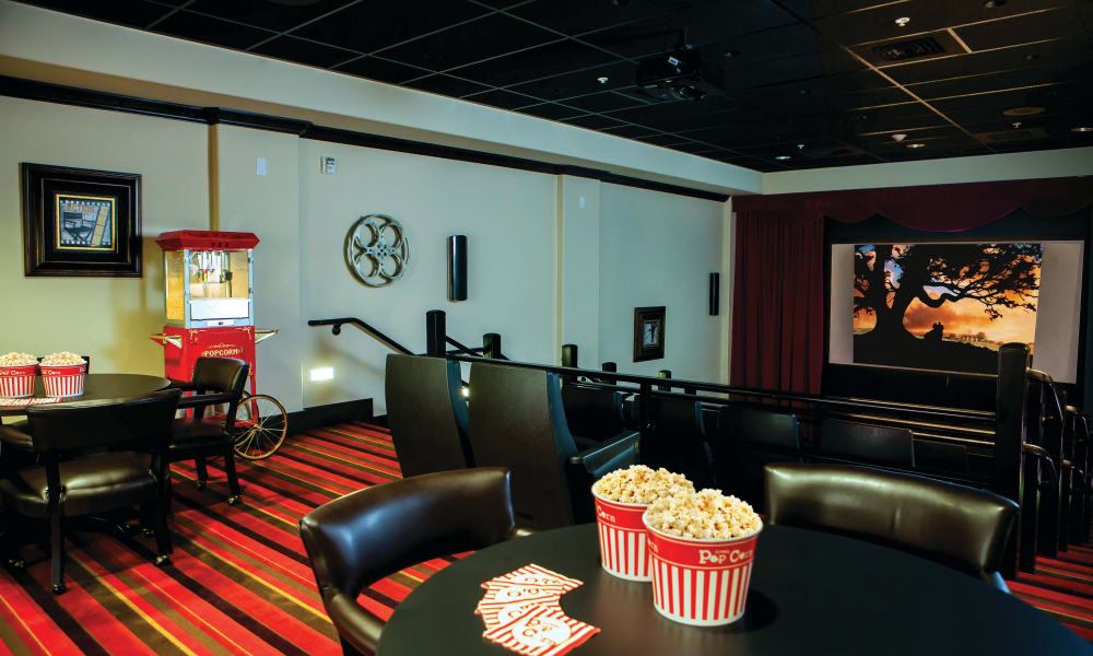 The onsite movie theater at Whispering Pines Gracious Retirement Living in Raleigh, North Carolina
