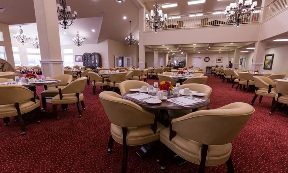 The dining room for residents at Willow Creek Gracious Retirement Living in Chesapeake, Virginia