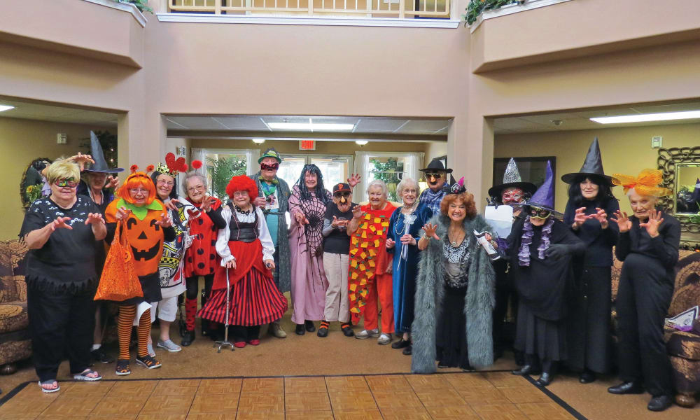 Residents dressed in costume for Halloween at Mulberry Gardens Assisted Living in Munroe Falls, Ohio