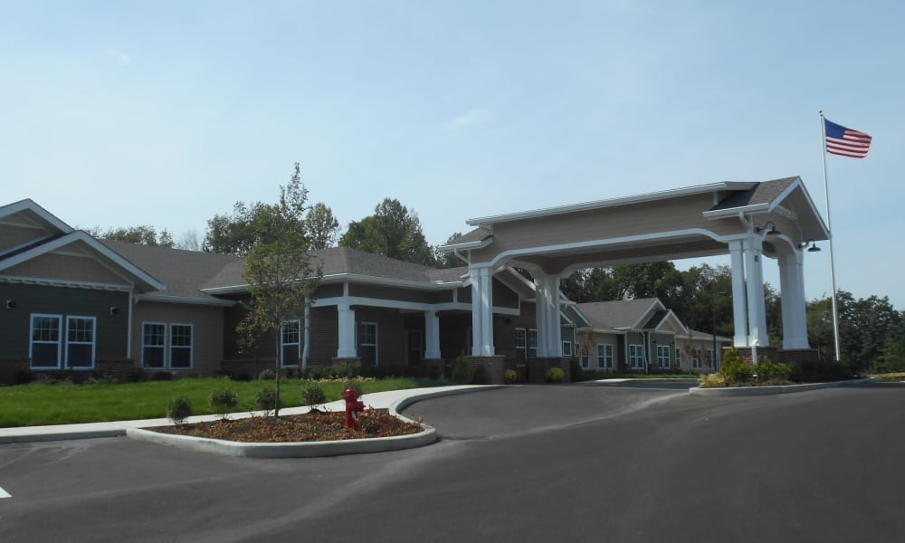 Building exterior and main entrance to Mulberry Gardens Memory Care in Munroe Falls, Ohio