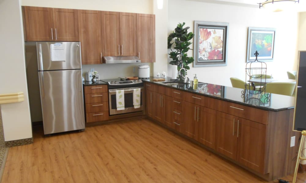 A community kitchen for residents at Mulberry Gardens Memory Care in Munroe Falls, Ohio