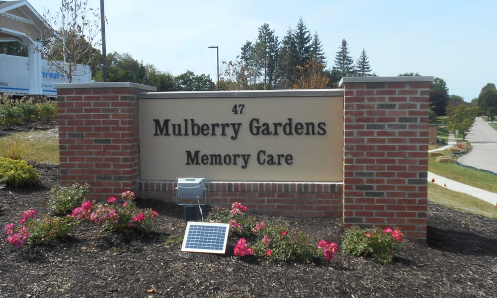 Branding and signage at Mulberry Gardens Memory Care in Munroe Falls, Ohio