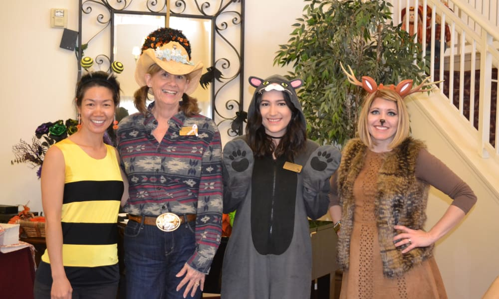 Caregivers dressed up for Halloween at Palms at Bonaventure Assisted Living in Ventura, California