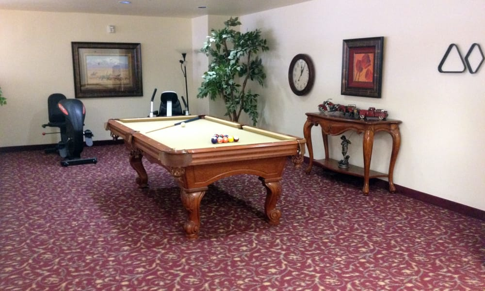 A billiards table in the game room at The Palms at Bonaventure Assisted Living and Memory Care in Ventura, California