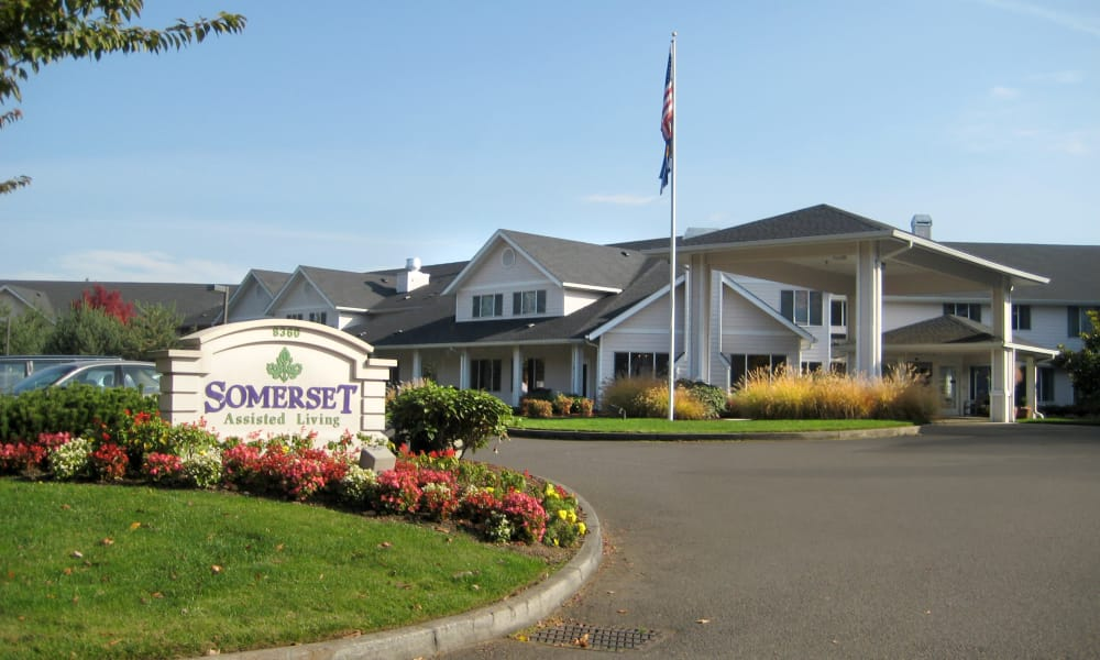 Branding and signage outside of Somerset Assisted Living in Gladstone, Oregon