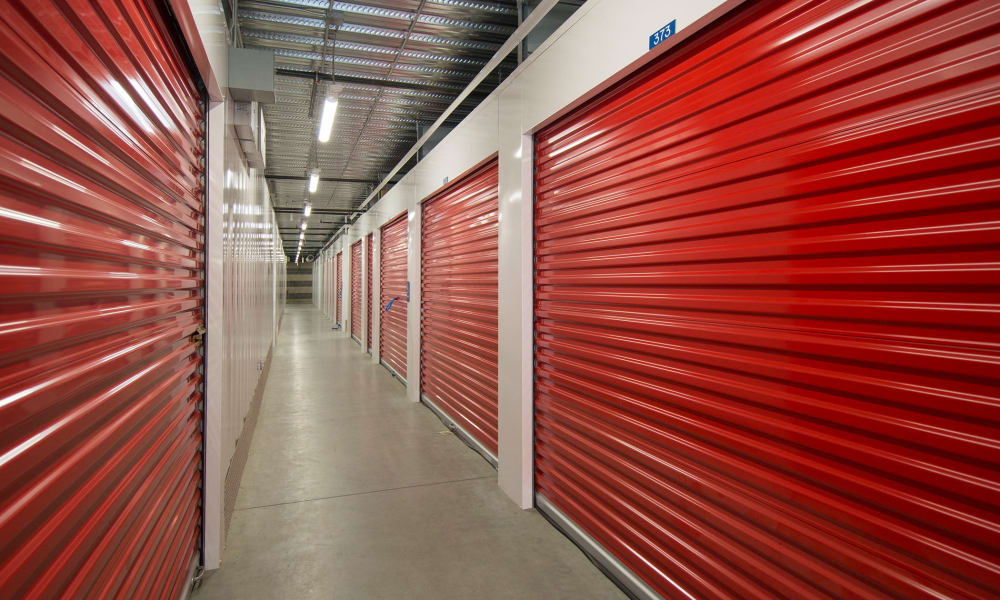 Red storage doors at Trojan Storage in Oregon City, Oregon