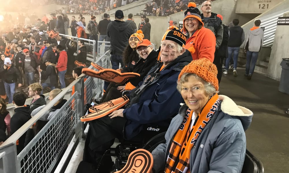 Residents from Stoneybrook Assisted Living in Corvallis, Oregon at a Beavers game