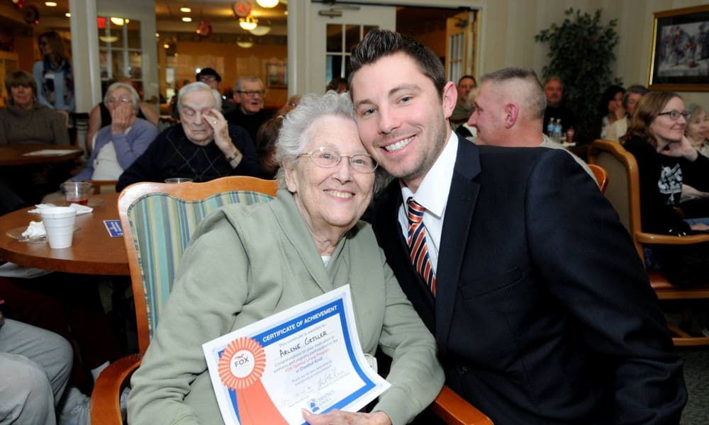 A resident receiving an award at Chestnut Knoll in Boyertown, Pennsylvania