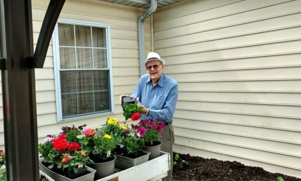 A residents gardening at Chestnut Knoll in Boyertown, Pennsylvania