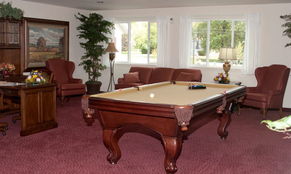 A billiards table in the game room at Amber Park in Pickerington, Ohio