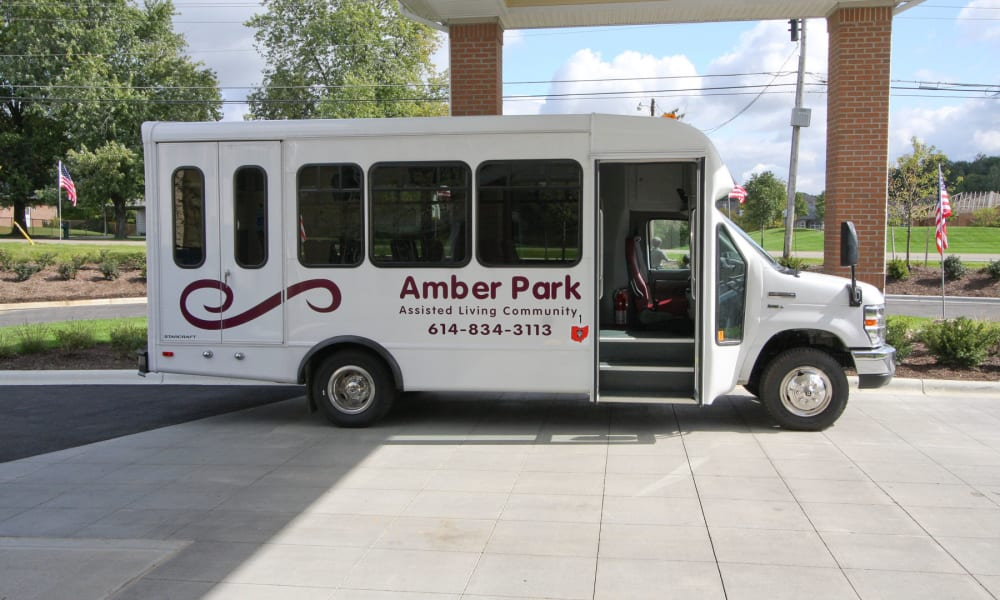 The community bus parked in front of Amber Park in Pickerington, Ohio