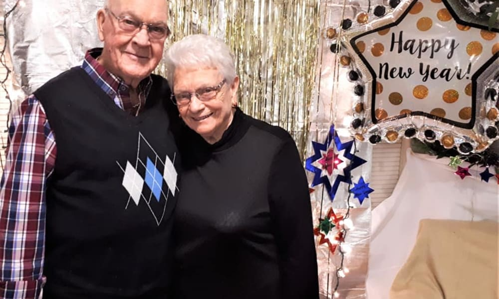 A happy couple on New Years Eve at Birchwoods at Canco Assisted Living in Portland, Maine