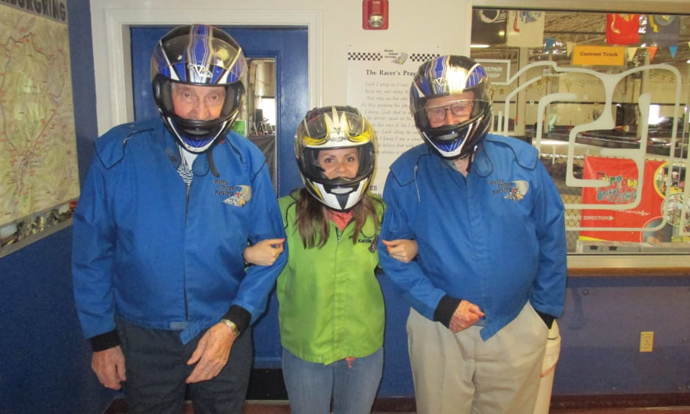 Two residents from Birchwoods at Canco Assisted Living in Portland, Maine at a go kart racing facility