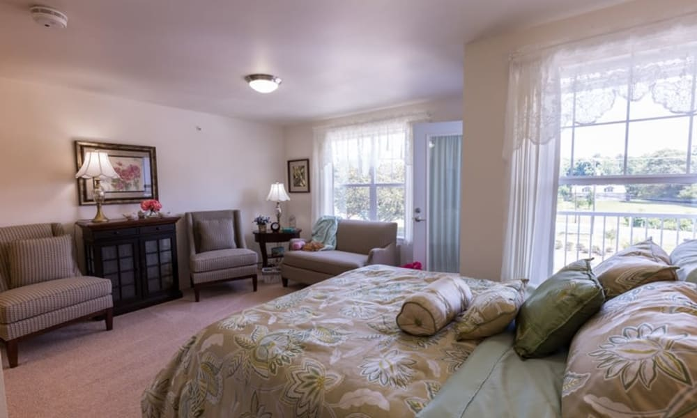A well decorated studio apartment at Birchwoods at Canco Assisted Living in Portland, Maine