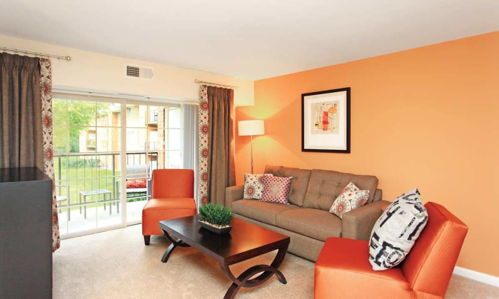 Living room with patio at Mount Vernon Square Apartments in Alexandria, Virginia