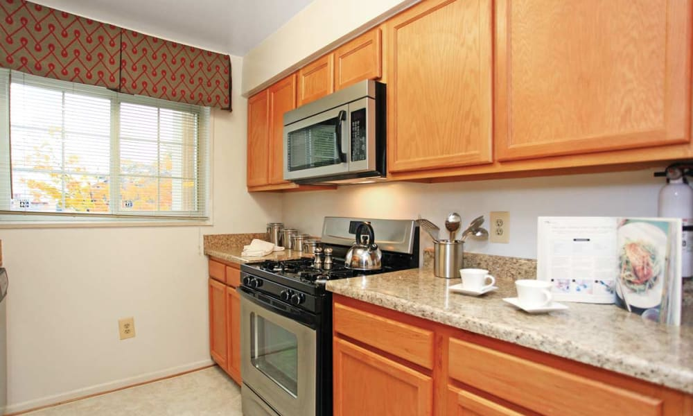 Stainless steel appliances at Mount Vernon Square Apartments in Alexandria, Virginia