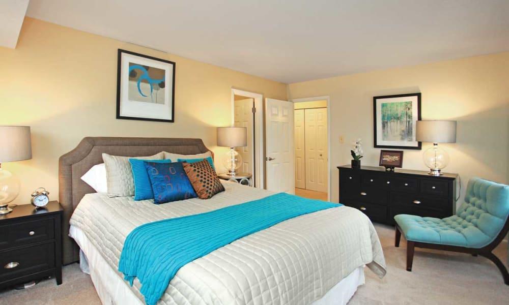 Bright bedroom at Mount Vernon Square Apartments in Alexandria, Virginia