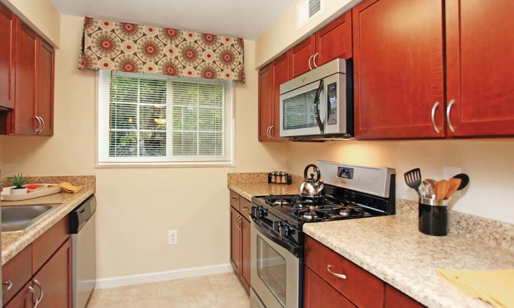 Kitchen with plenty of counter space at Mount Vernon Square Apartments in Alexandria, Virginia