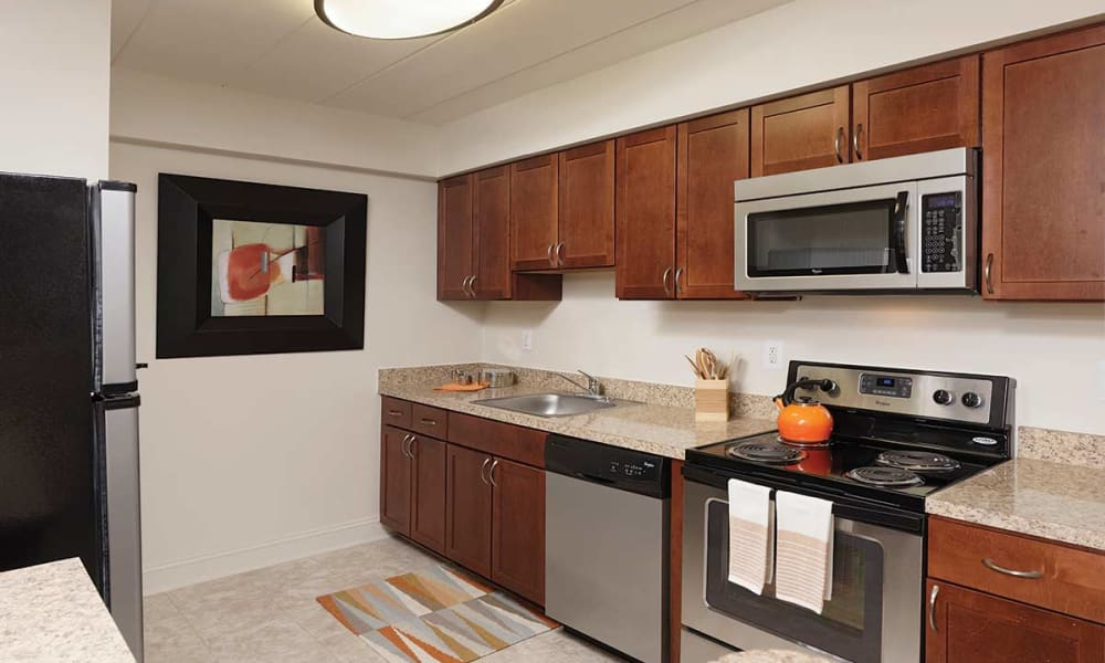 Bright kitchen at Stonegate at Devon Apartments in Devon, Pennsylvania
