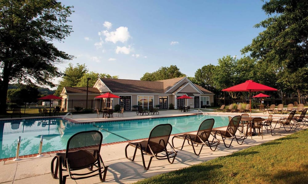 Poolside lounging at The Preserve at Milltown in Downingtown, Pennsylvania