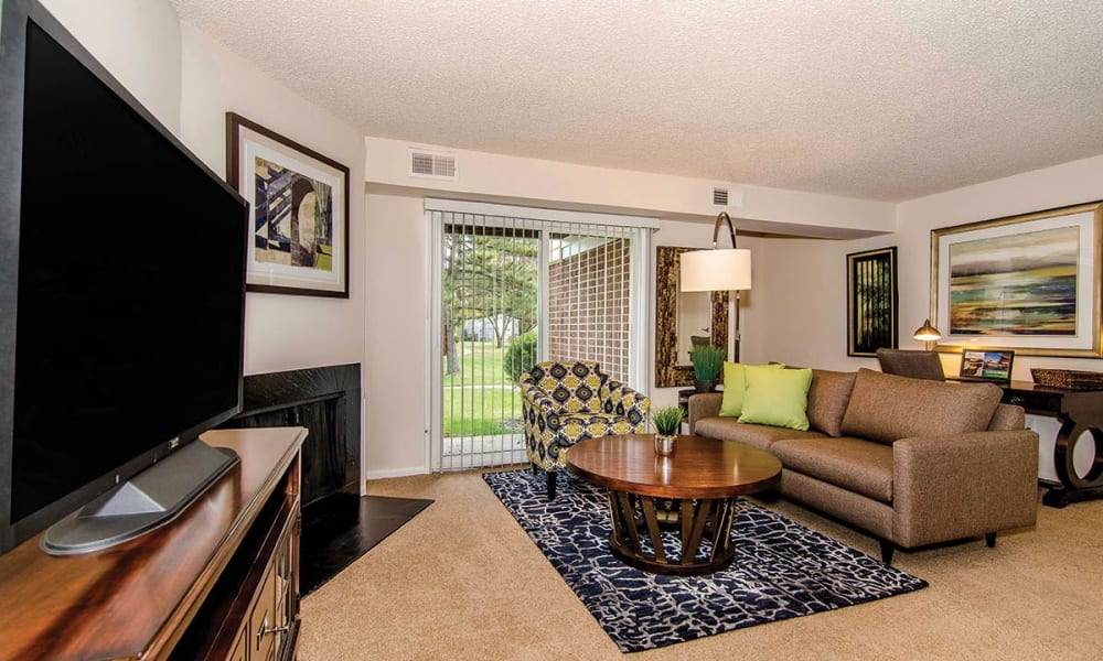 Couch and TV in model home at The Preserve at Milltown in Downingtown, Pennsylvania