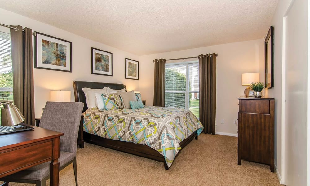 Large master bedroom in apartment at The Preserve at Milltown in Downingtown, Pennsylvania
