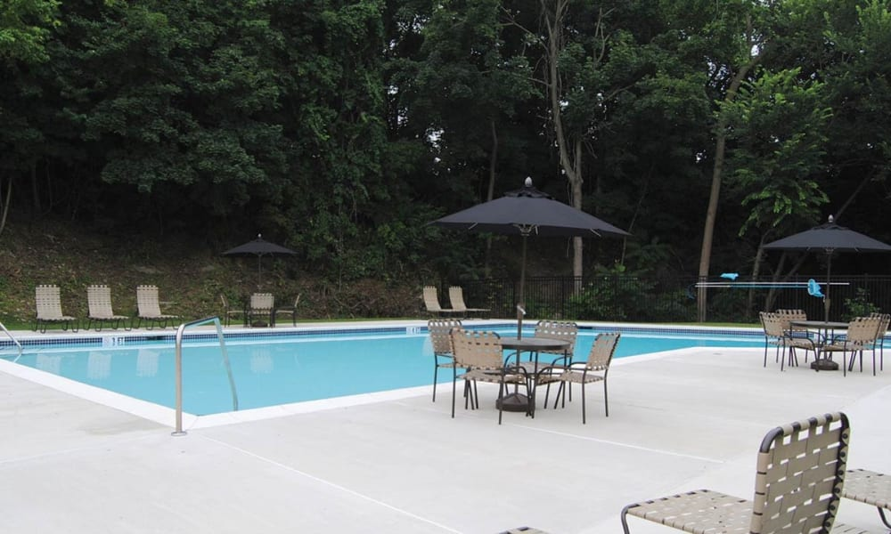 Poolside seating at Sherry Lake Apartment Homes in Conshohocken, Pennsylvania