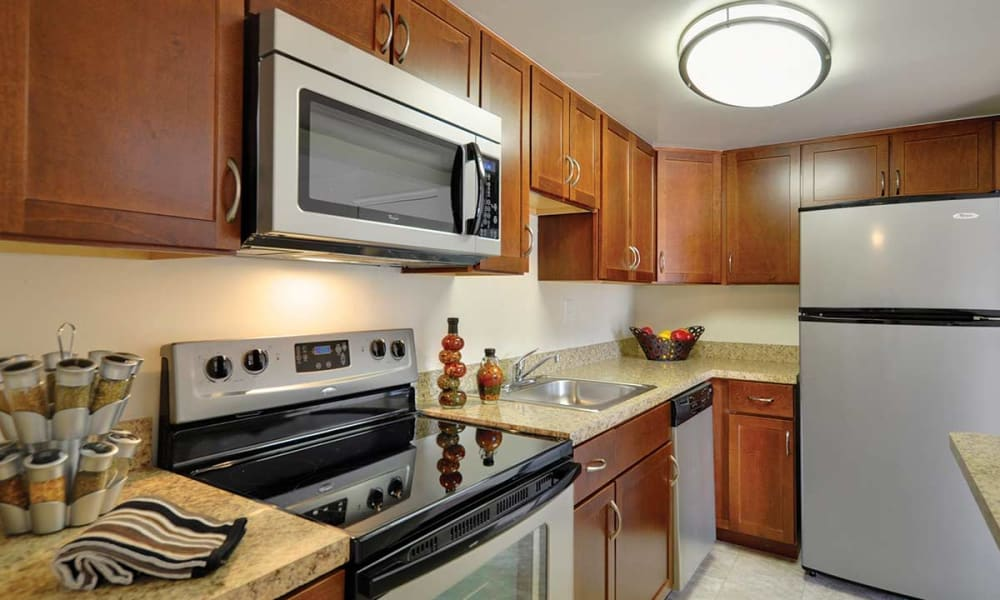 Well lit kitchen at Waterview Apartments in West Chester, Pennsylvania