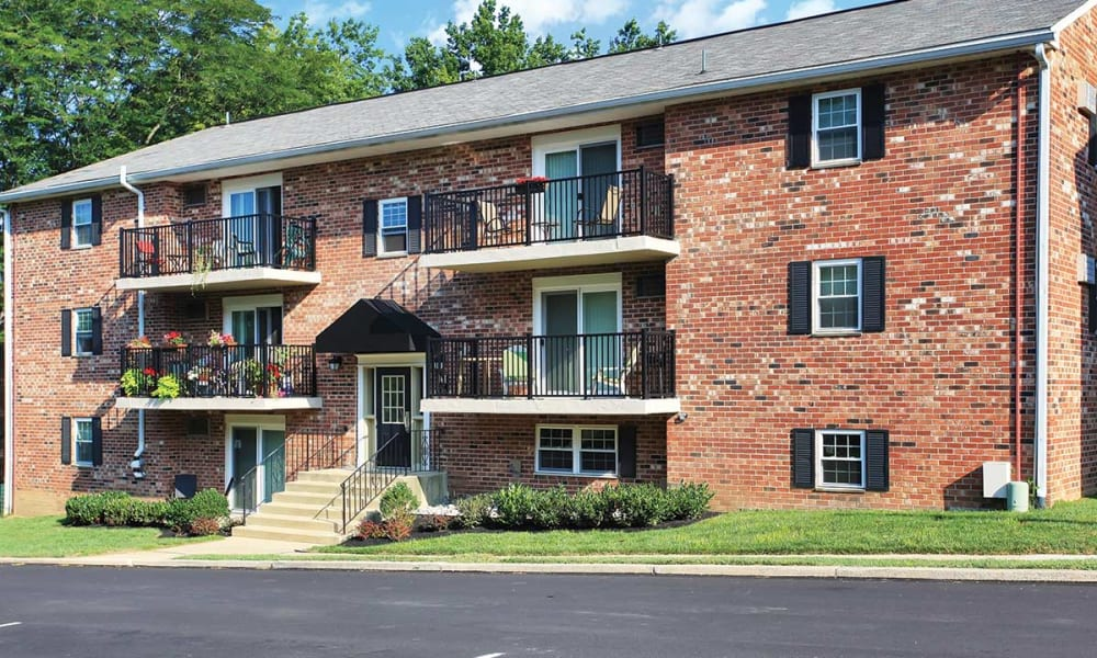 Three story apartment building at Waterview Apartments in West Chester, Pennsylvania