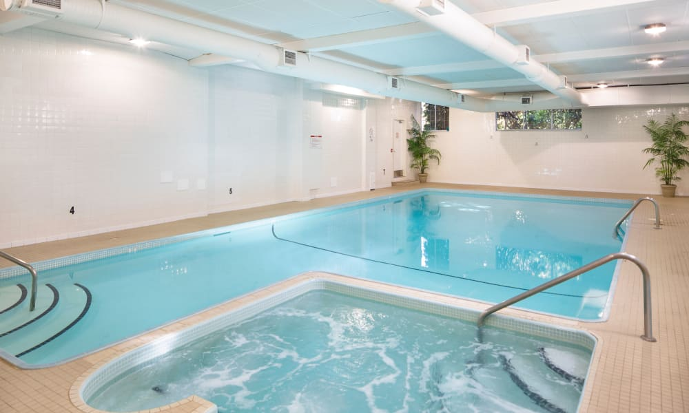 Indoor swimming pool at Fraser Tolmie Apartments in Victoria, British Columbia