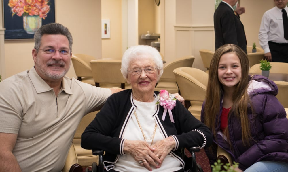 A happy resident from Linwood Estates Gracious Retirement Living in Lawrenceville, Georgia at our grand opening