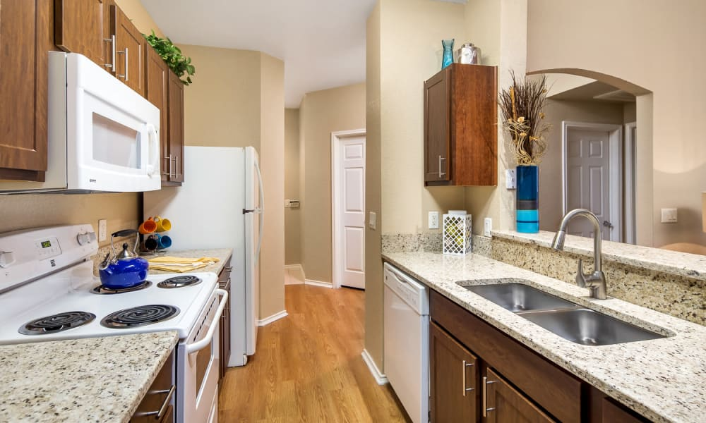 Granite countertops and white appliances in a kitchen at Villas at Oakwell Farms in San Antonio, Texas