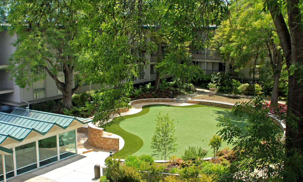 Aerial view of Palo Alto Plaza's putting green in Mountain View, California