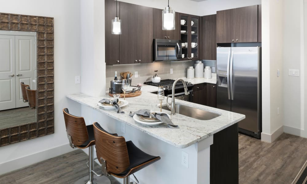 High end kitchen at Axis 110 in Richardson,Texas