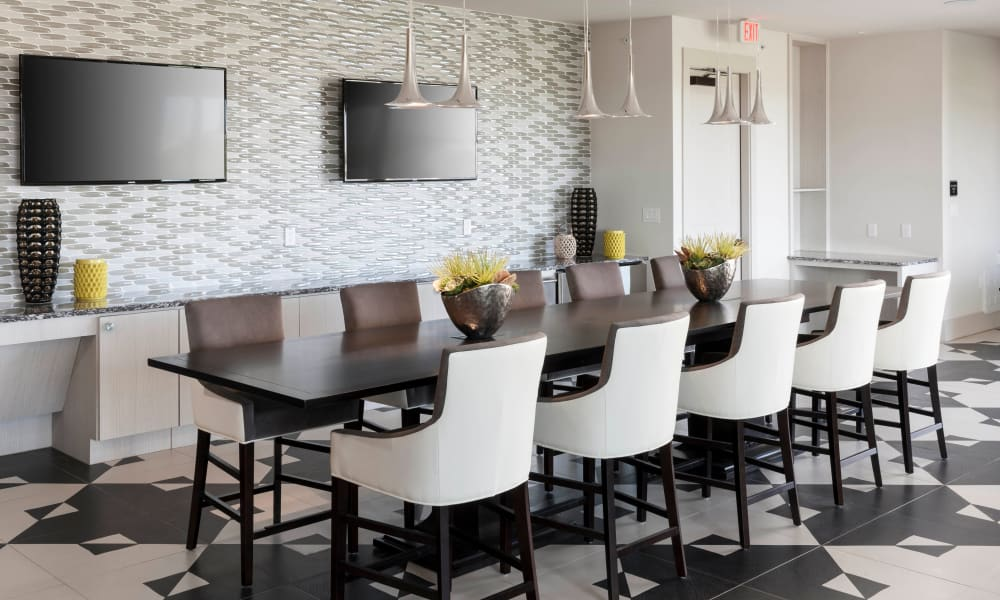 Dining area at Axis 110 in Richardson, Texas