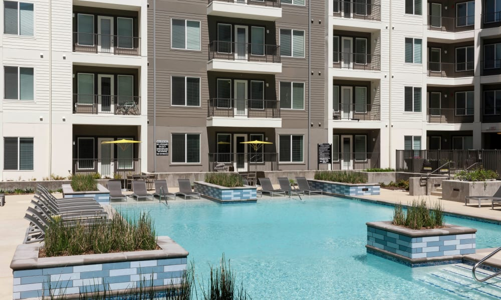 Pool in the sun at Axis 110 in Richardson, Texas