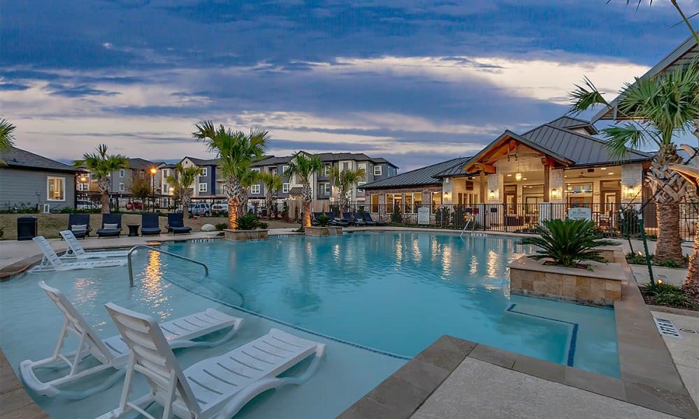 Pool view at Plum Creek Vue in Kyle, TX
