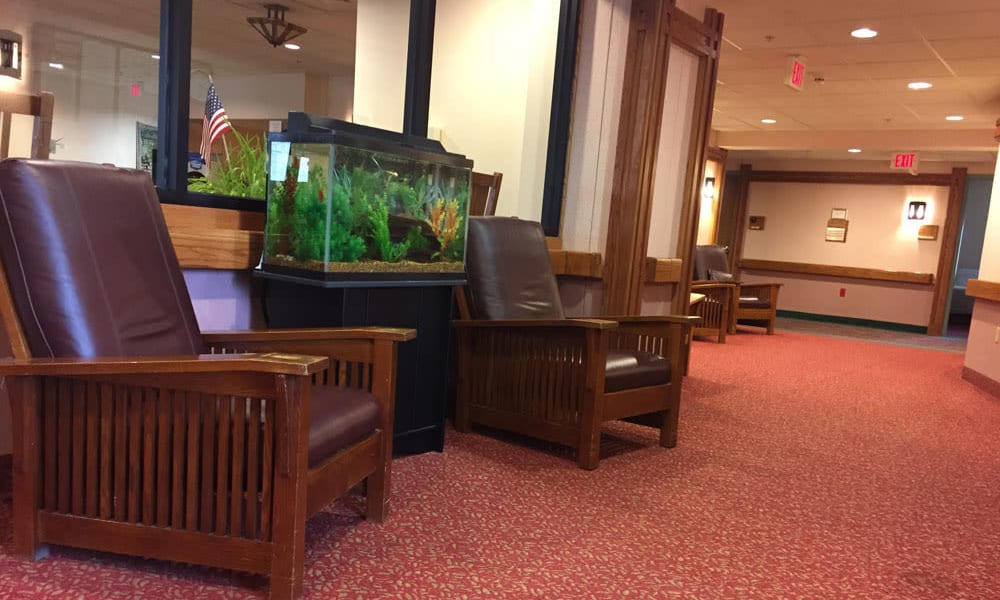 Seating in the common area at Belle Reve Senior Living in Milford, Pennsylvania