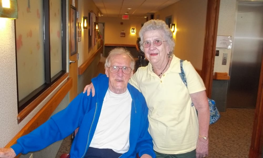Residents posing for a photo at Belle Reve Senior Living in Milford, Pennsylvania