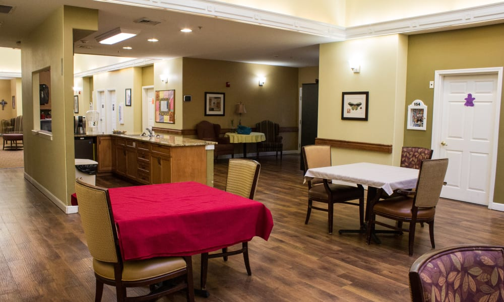 Dining area at Evergreen Memory Care in Eugene, Oregon