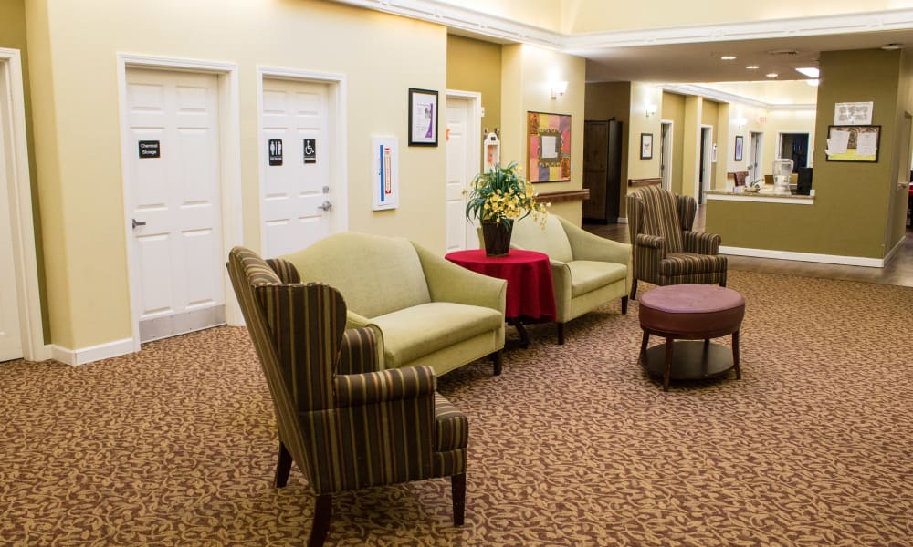 Seating in the main lounge area at Evergreen Memory Care in Eugene, Oregon
